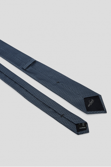 Мужской синий шелковый галстук с узором 3