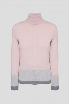 Женский розовый шерстяной гольф