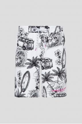 Мужские белые шорты с принтом