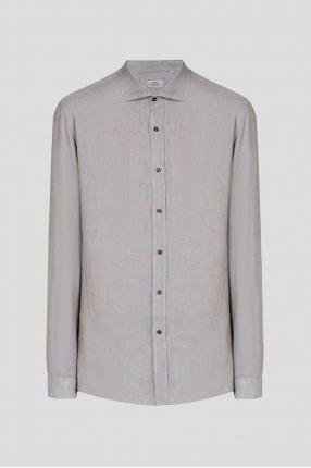Мужская серая льняная рубашка