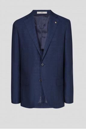 Мужской темно-синий льняной пиджак