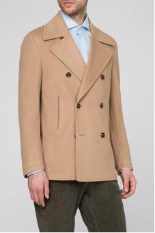 Чоловіче бежеве вовняне пальто 1