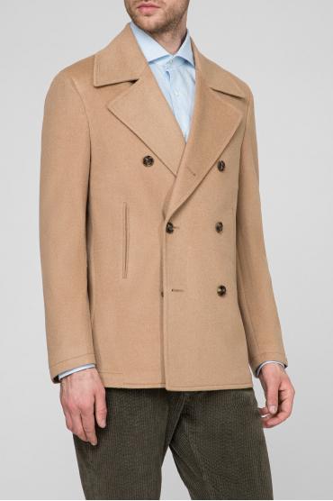 Мужское бежевое шерстяное пальто 2