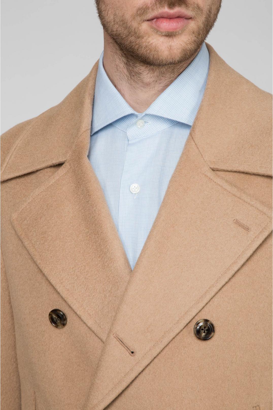 Мужское бежевое шерстяное пальто - 4