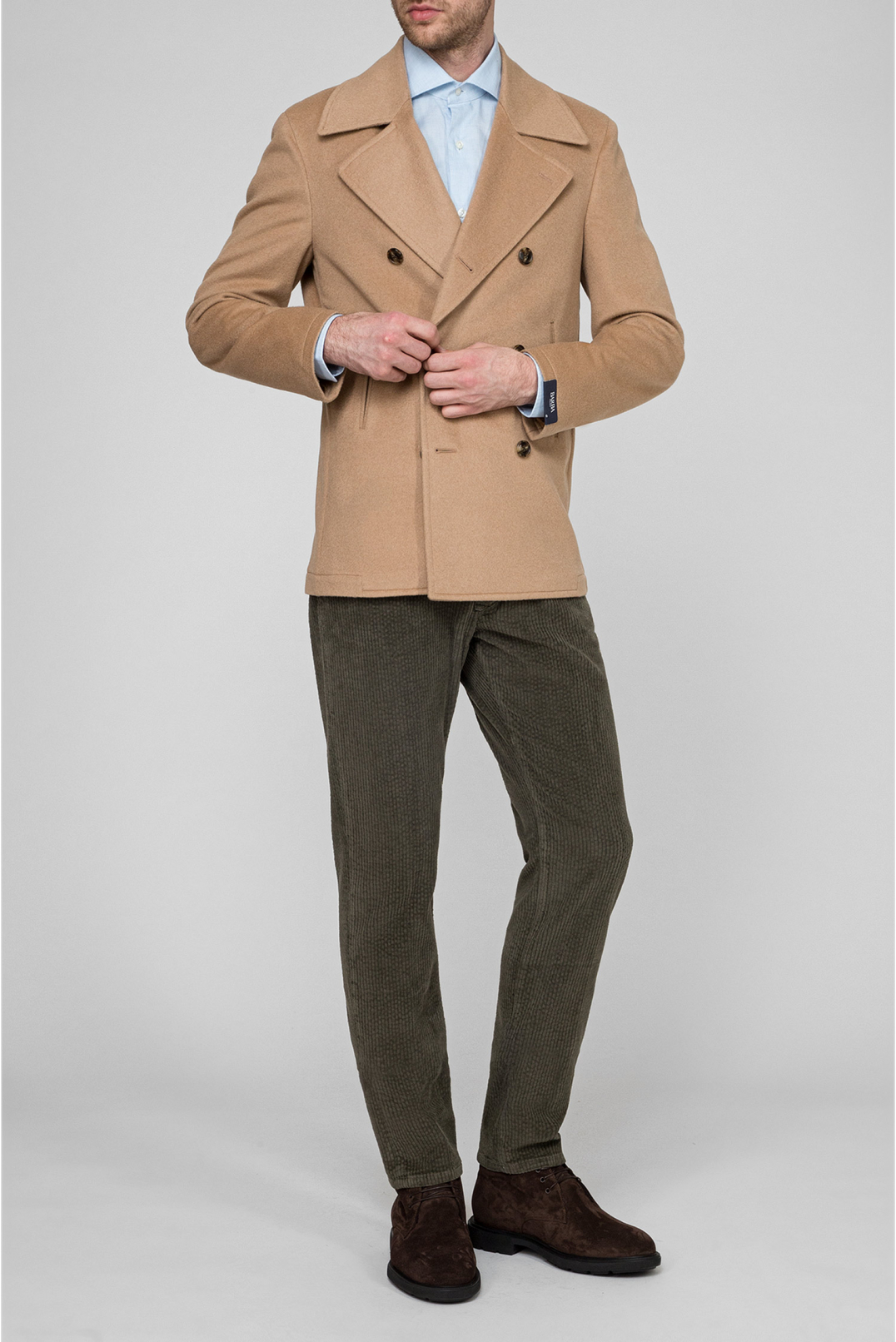 Мужское бежевое шерстяное пальто - 5