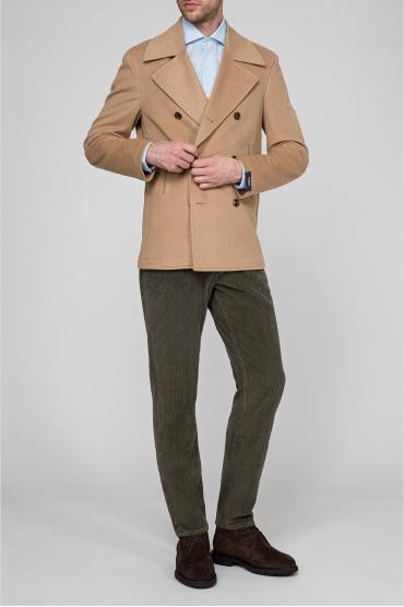 Мужское бежевое шерстяное пальто 5