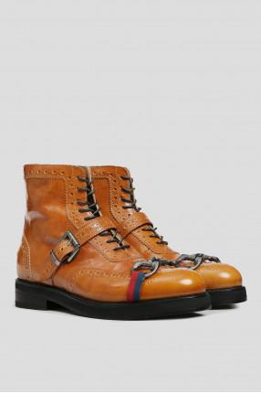 Женские рыжие кожаные ботинки 1