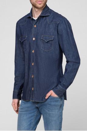 Мужская темно-синяя джинсовая рубашка 1