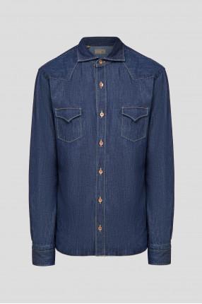 Мужская темно-синяя джинсовая рубашка
