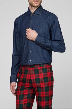Мужская синяя джинсовая рубашка 1
