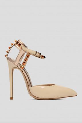 Женские светло-бежевые кожаные туфли