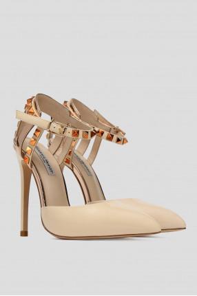 Женские светло-бежевые кожаные туфли 1