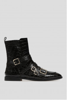 Жіночі чорні шкіряні черевики