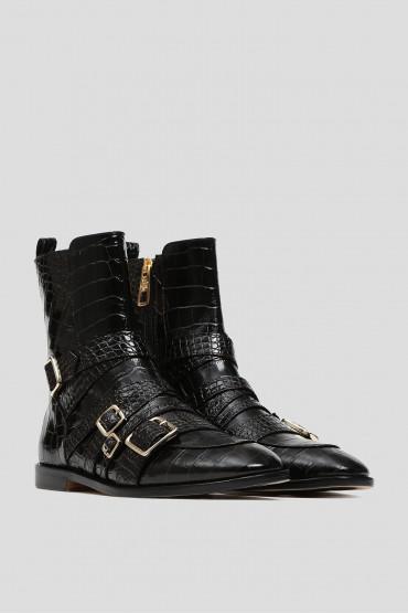 Женские черные кожаные ботинки 2