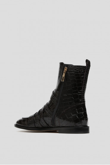 Женские черные кожаные ботинки 3