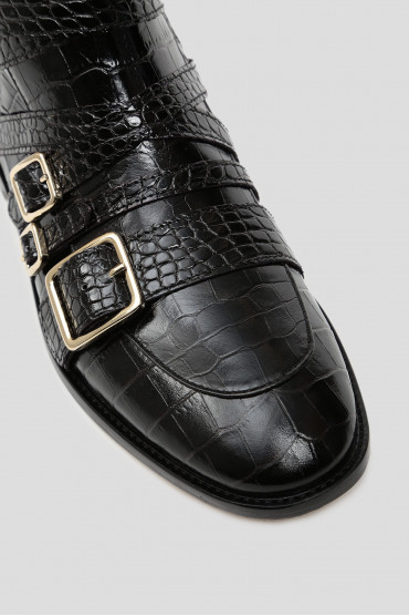 Женские черные кожаные ботинки 4
