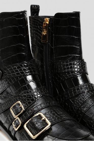 Женские черные кожаные ботинки 5