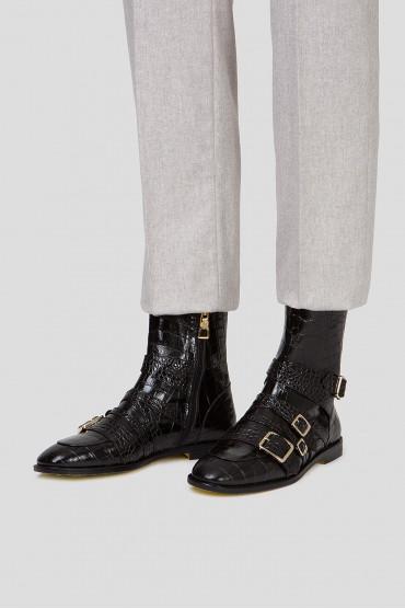 Женские черные кожаные ботинки 6