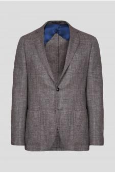 Мужской коричневый шерстяной пиджак