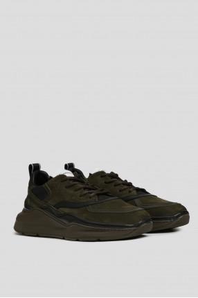 Мужские зеленые кожаные кроссовки 1