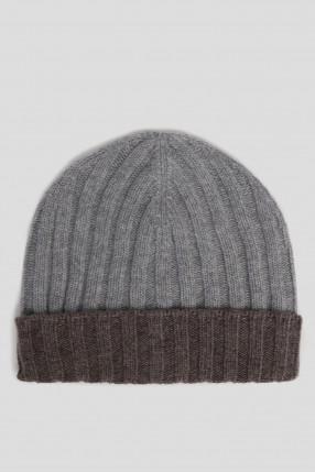 Мужская серая кашемировая шапка