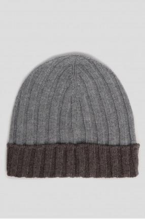 Мужская серая кашемировая шапка 1