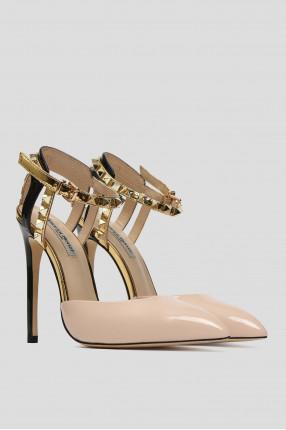 Женские бежевые кожаные туфли 1