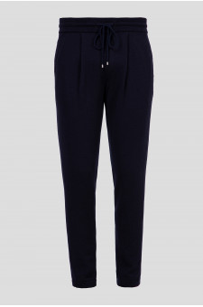 Мужские темно-синие шерстяные спортивные брюки