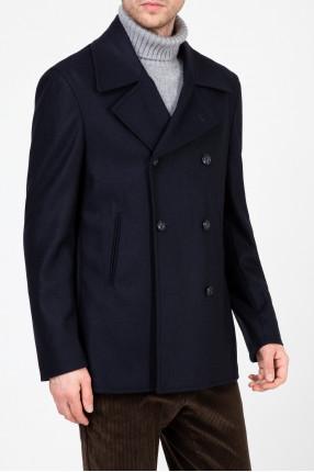 Мужское темно-синее двубортное пальто 1