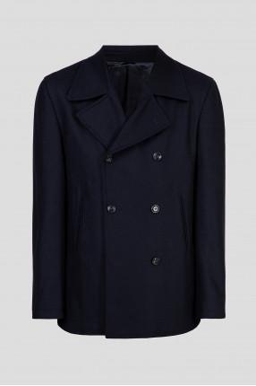 Мужское темно-синее двубортное пальто