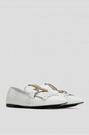 Женские белые кожаные слиперы 1