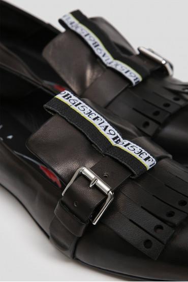 Женские черные кожаные слиперы 5