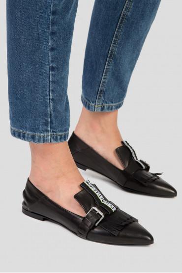 Женские черные кожаные слиперы 6