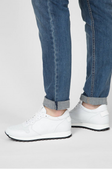 Мужские белые кожаные кроссовки 6