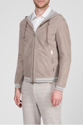 Мужская серая кожаная куртка 1