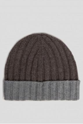 Мужская коричневая кашемировая шапка 1