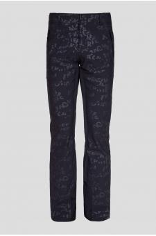 Мужские черные лыжные брюки с принтом