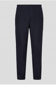 Мужские темно-синие льняные брюки