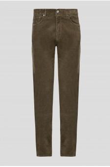 Мужские зеленые вельветовые брюки
