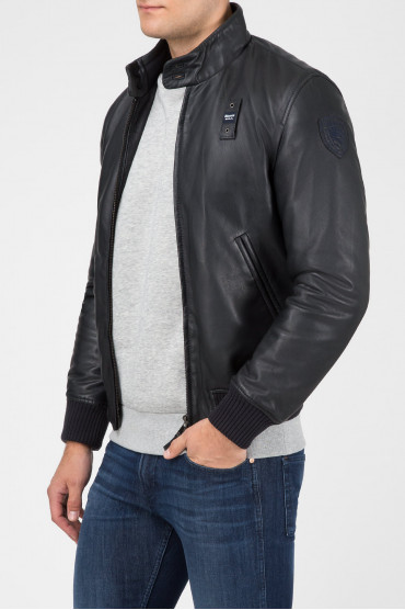 23635c02c457f Мужская черная кожаная куртка Blauer 18WBLUL01233-999 — Saks'85