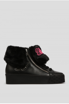 Женские черные кожаные хайтопы