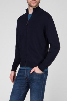 Мужской темно-синий шерстяной кардиган 1