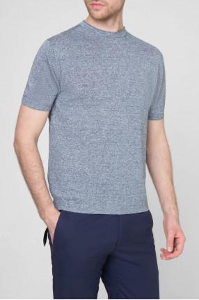 Мужская синяя льняная футболка 1