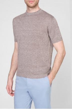 Мужская коричневая льняная футболка 1