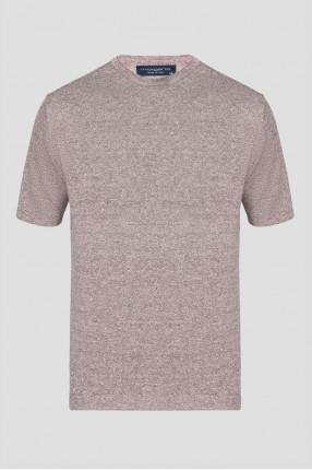 Мужская коричневая льняная футболка
