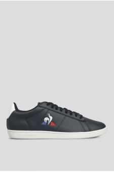 Мужские темно-синие кожаные кроссовки