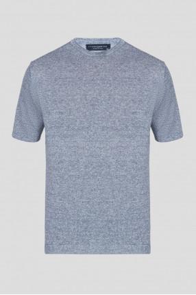 Мужская синяя льняная футболка