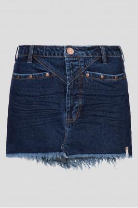 Женская темно-синяя джинсовая юбка