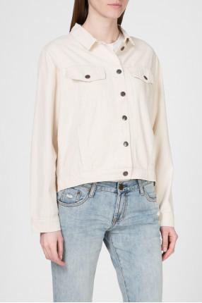 Женская бежевая джинсовая куртка 1