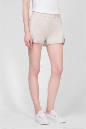 Женские бежевые кожаные шорты 1